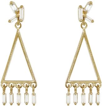 Suzanne Kalan Mini Triangle Diamond Fringe Earrings - Yellow Gold