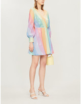 Olivia Rubin Kylie striped sequinned mini dress