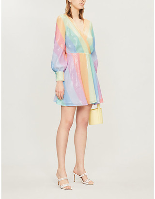 Olivia Rubin Kylie Striped Sequinned Mini Dress