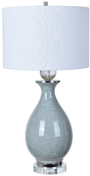 Thumbnail for your product : Crestview Collection Jarvis 1 Light Table Lamp in Blue Crackle And Crystal
