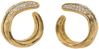 Michael Aram 18k Palm Crescent Earrings w/ Diamonds