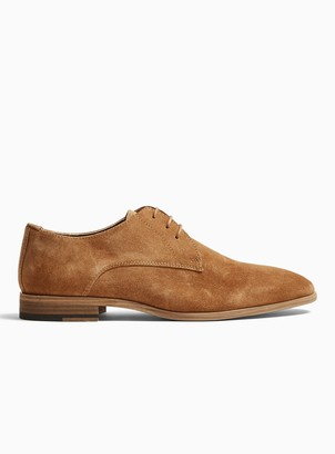 Topman Tan Real Suede Collins Derby Shoes