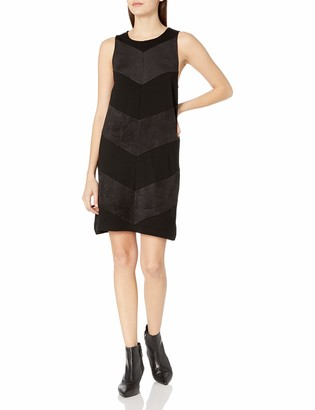 Kensie Women's Ponte Dress with Faux Suede Chevron
