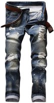 West Bank Westbank Men's Slim Fit Stretch Distressed Ripped Biker Jeans