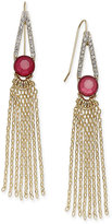 INC International Concepts Gold-Tone Pavé, Stone and Fringe Drop Earrings, Only at Macy's
