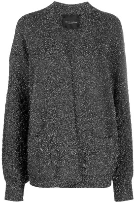 Roberto Collina Metallic-Threading Wool-Bend Cardi-Coat