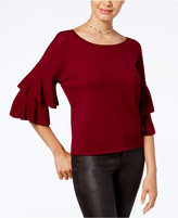 Hooked Up by IOT Juniors' Double-Ruffle Bell-Sleeve Sweater