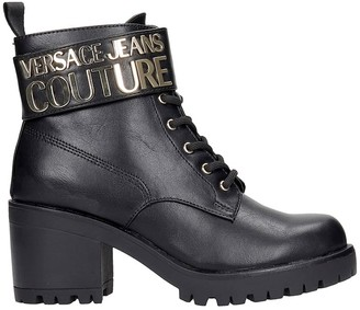 Versace Jeans Couture Combat Boots In Black Leather