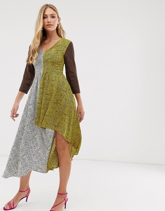 Liquorish v neck dress with hi-low hem in mixed animal print-Multi