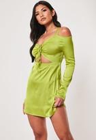 Missguided Lime Cold Shoulder Cut Out Mini Dress