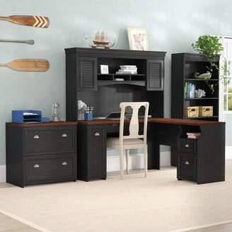 Beachcrest Home Oakridge 4 Piece Office Set with Hutch Color: Antique Black