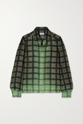 Dries Van Noten Checked Satin-twill Shirt - Green