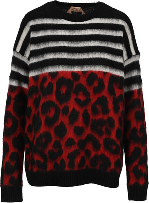 N°21 N21 Striped And Leopard Motif Sweater