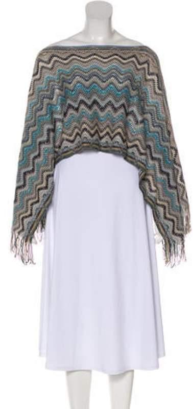 Missoni Wool Striped Poncho Blue Wool Striped Poncho