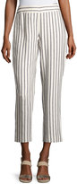 Laundry by Shelli Segal Striped Linen-Blend Cropped Pants, White Pattern
