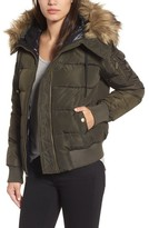 MICHAEL Michael Kors Women's Missy Water Resistant Puffer Bomber Jacket With Detachable Hood And Faux Fur Trim