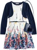 Knitworks Girls 7-16 & Plus Size Shrug & Floral Textured Skater Dress Set with Purse