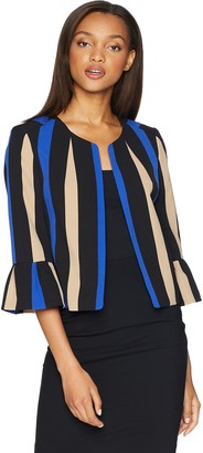 Nine West Women's Printed Stripe Crepe Fly Away JKT with Flounce Sleeve