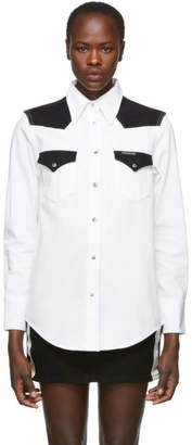 Calvin Klein Jeans White and Black Denim Blocked Western Shirt
