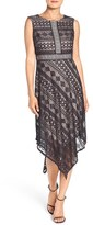 London Times Geometric Lace Handkerchief Hem Dress