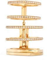 Repossi 'Antifer' diamond pavé 18k yellow gold six row linked ring