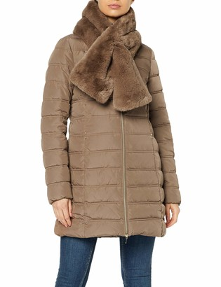 Geox Women's Eliska Long Jacket with Faux Fur Scarf Outerwear