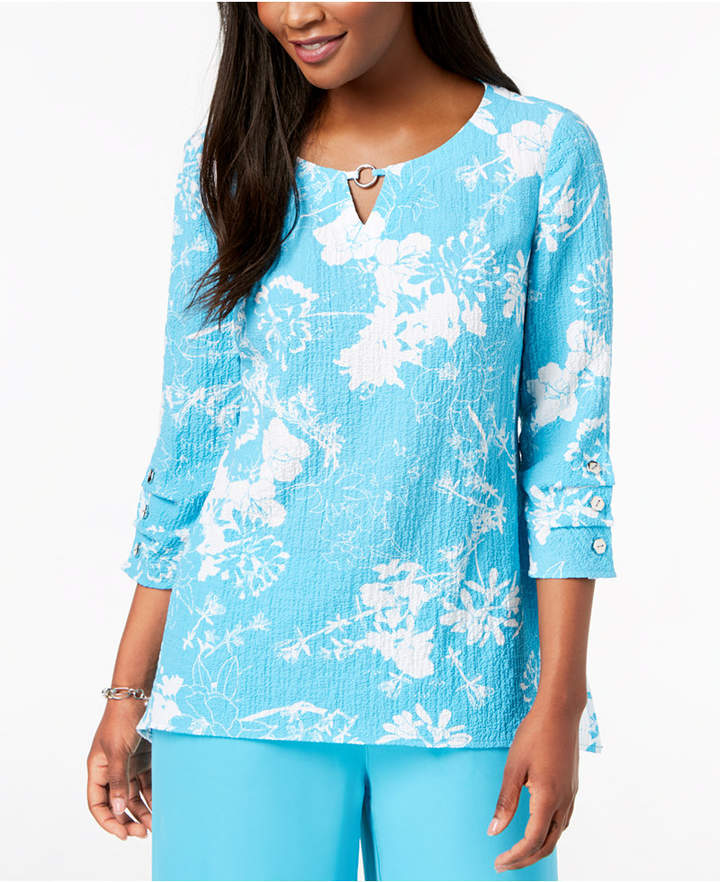 JM Collection Textured Keyhole Top, Created for Macy's