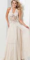 Tony Bowls Le Gala Sheer Lace Halter Prom Gown