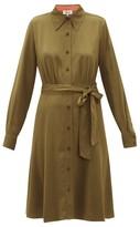 Diane von Furstenberg Dory Silk-blend Crepe Shirt Dress - Womens - Khaki