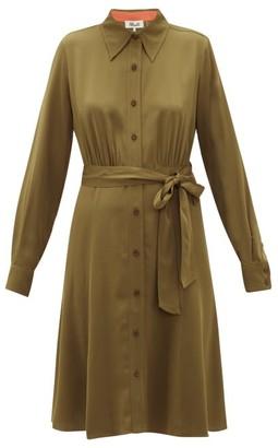 Diane von Furstenberg Dory Silk-blend Crepe Shirt Dress - Khaki