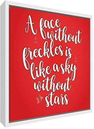 Camilla And Marc Feel Good Art A Face Freckles Is Like a Sky without Stars Contemporary White Wooden Framed Canvas, Wood, Red, 55 x 55 x 3 cm