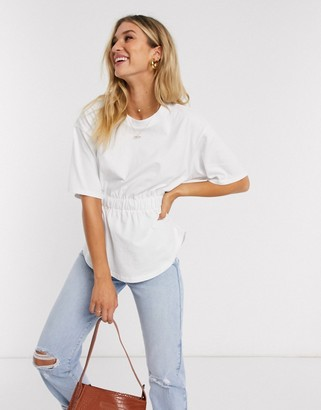 Asos DESIGN t-shirt with elastic waist and curve hem