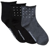 Steve Madden Stud Detail Roll Top Anklet Socks - Pack of 3