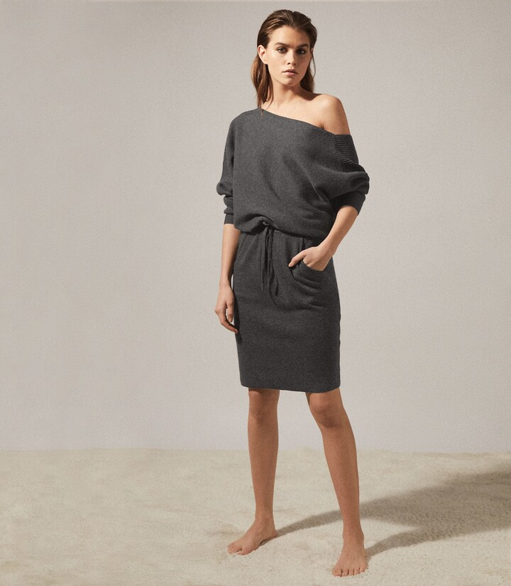 Thumbnail for your product : Reiss Amara - Off-the-shoulder Knitted Dress in Dark Grey