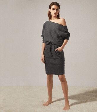 Reiss Amara - Off-the-shoulder Knitted Dress in Dark Grey