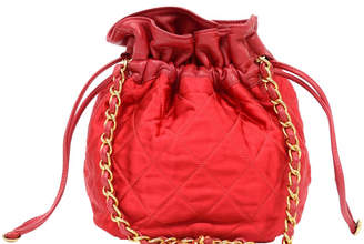 Chanel Red Quilted Satin and Leather Vintage Mini Bucket Bag