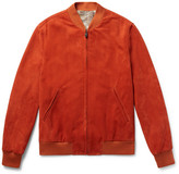 Richard James Slim-fit Suede Bomber Jacket - Orange