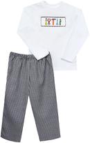Black Gingham Pants & White Tool Top - Boys