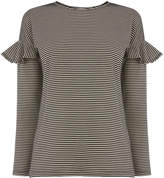 Warehouse Stripe Frill Long Sleeve Top