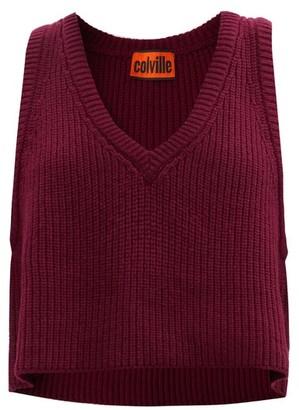 Colville - V-neck Sleeveless Wool Sweater - Red