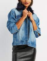 Charlotte Russe Faux Fur-Trim Denim Jacket