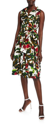 Samantha Sung Claire Ripe Fig Button-Front Sleeveless Belted Shirtdress