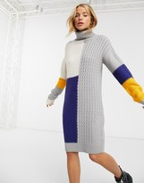Brave Soul Matata sweater dress in patchwork cable