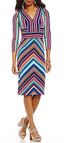 Maggy London V-Neck Long Sleeve Striped Matte Jersey Midi Sheath Dress