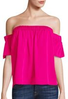 Milly Stretch-Silk Off-The-Shoulder Top