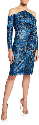 Tadashi Shoji Sequin Lace Long-Sleeve Cocktail Dress with Illusion Neckline
