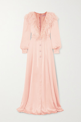RALPH & RUSSO Feather-trimmed Silk-satin Gown - Pink