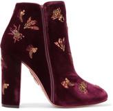 Aquazzura Fauna Leather-trimmed Embellished Velvet Boots - Claret