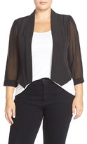 City Chic Plus Size Women's Chiffon Sleeve Crop Blazer