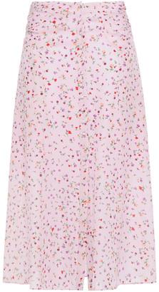 Nicholas Ruched Floral-print Silk-crepe Midi Skirt